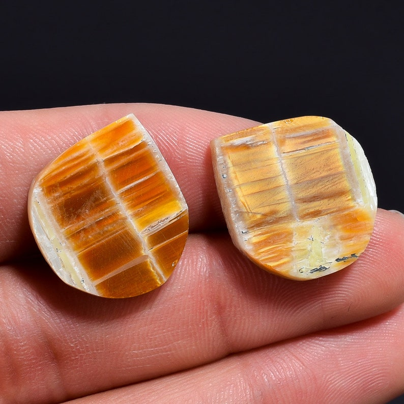 22.8 Ct Natural Fabulous Quality African Opal Fancy Shape Slice Gemstone Pair 21X19X4mm N-907 For Making Jewelry African Opal Cabs /& Stone
