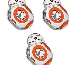 """Star Wars Mini BB8 Droid Orange/Silver 5/8"""" Tall Metal Enamel Pin SET of 3 Costume Accessory"""