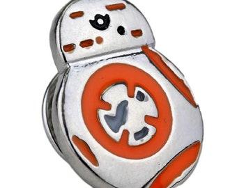 """Star Wars Mini BB8 Droid Orange/Silver 5/8"""" Tall Metal Enamel Pin Costume Accessory"""