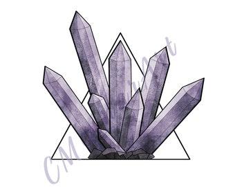 Amethyst Crystal Triangle Digital Print