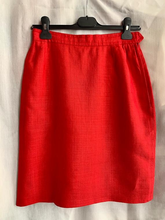 Yves Saint Laurent left bank skirt in red linen