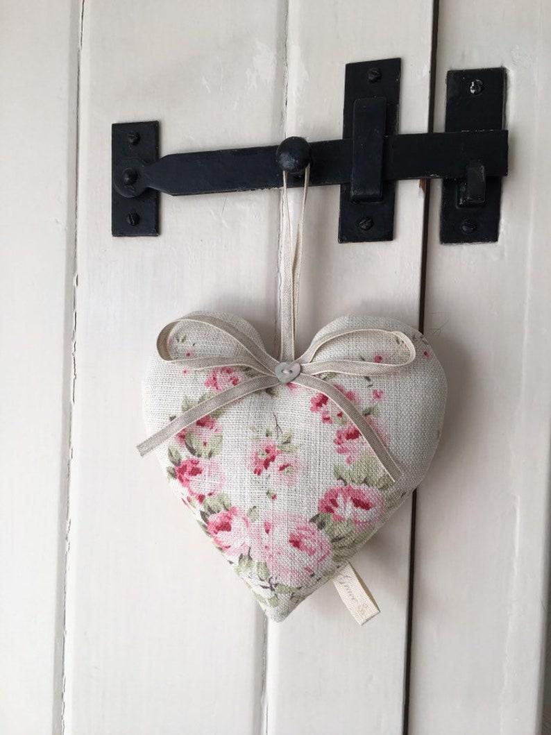 Beautiful Handmade Large Lavender Heart in Peony /& Sage Linen