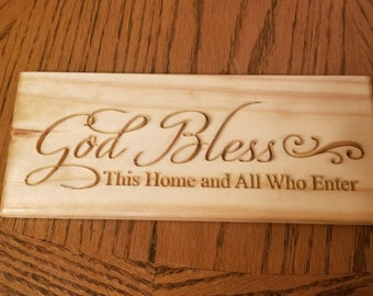 Handmade bless this home sign