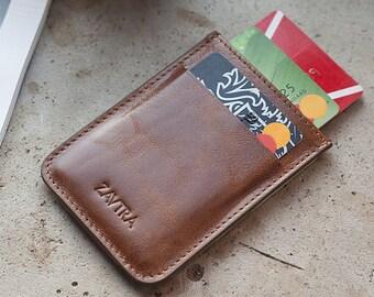 Slim leather wallet, Minimalist leather wallet, Thin leather wallet, Leather cardholder wallet, red wallet, black leather wallet — ZAVTRA
