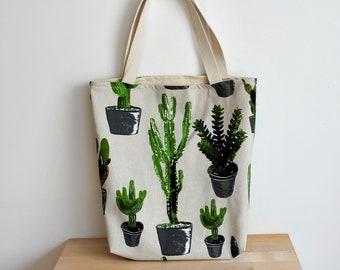 Cactus Bag | Cotton Carrying Case | Cactus Carrying Case | Cactus Bookbag | Green Cactus Bag | Botanical Print | Carrying bag plants