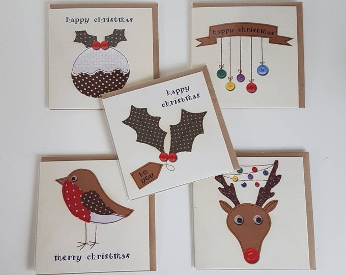 Christmas Cards 5 pack • Mixed Designs • Pudding, Rudolph, Holly, Baubles, Robin • Xmas cards bundle • Printed from original artwork