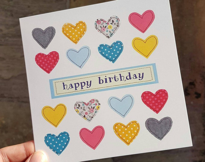 Happy Birthday Multi Hearts Card • Happy Birthday • Printed from Original Artwork • 6 inch square with brown kraft envelope • 300gsm