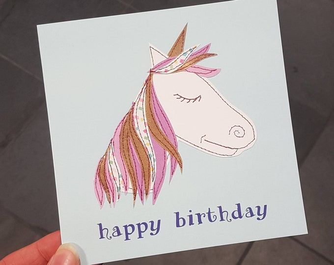 Unicorn Birthday Card • Printed from Original Artwork • 6 inch square with brown kraft envelope • 300gsm