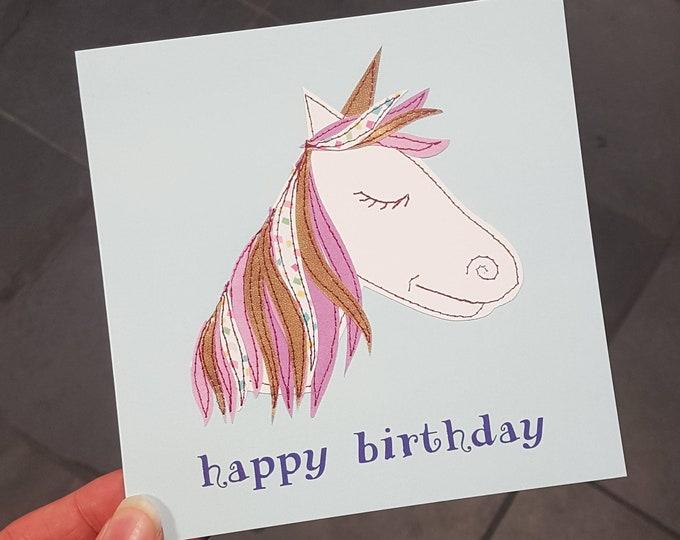 Unicorn Birthday Card • Printed from Original Artwork • 6 inch square with brown kraft envelope • 300gsm