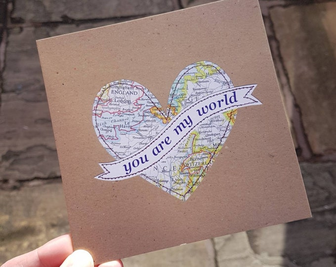 You Are My World Card - Wedding Anniversary, Love/ Valentines Day Card • Printed from Original Artwork • 6 inch square • 300 gsm
