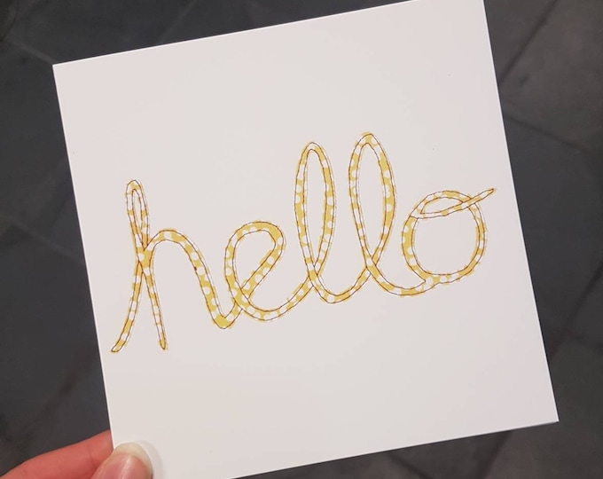 Hello card • Note Card • Blank Card  • Printed from Original Artwork • 6 inch square with brown kraft envelope • 300gsm