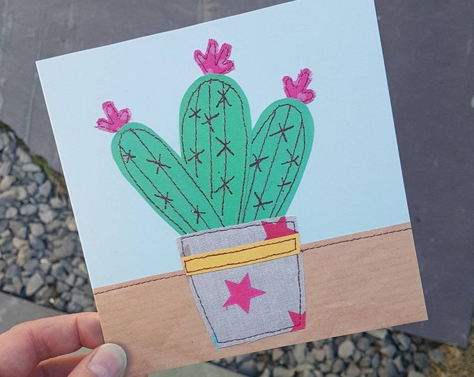 Cactus Greeting Card • Printed from Original artwork • 6 inch square with brown kraft envelope • Any Occasion • Birthday • New Home • House