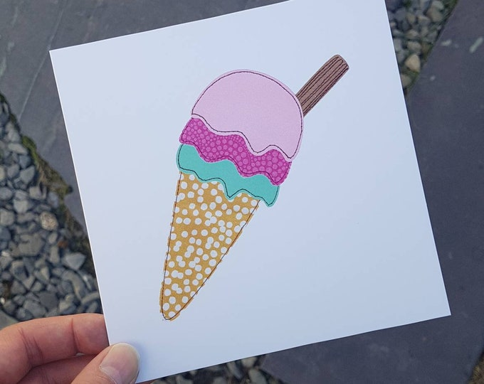 Ice Cream Cone Greetings Card • Printed from Original stitched art • 6 inch square with brown kraft envelope • Blank Card