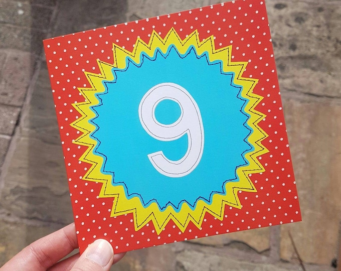 Children's Age 'Happy Birthday' Greetings Card • Printed from Original stitched art • 6 inch square with brown kraft envelope •