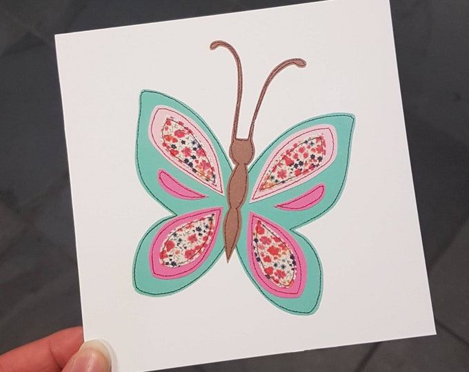 Butterfly Birthday Card / Blank Card  • Printed from Original Artwork • 6 inch square with brown kraft envelope • 300gsm