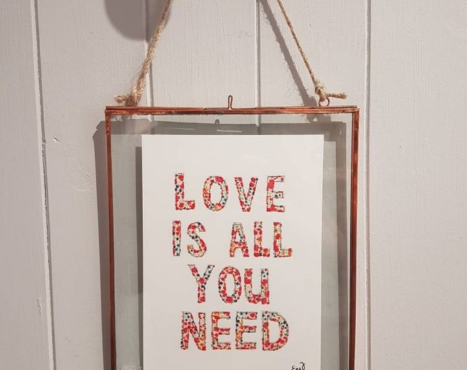 Love Is All You Need - A5 print taken from original stitched textile art - 300gsm
