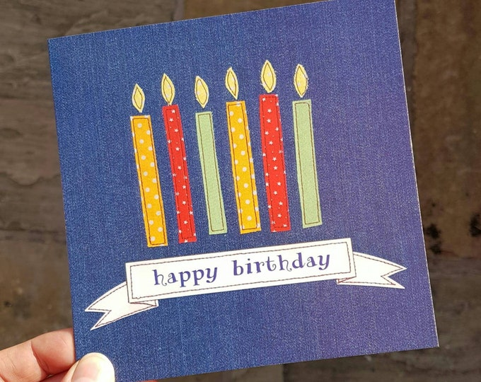 Candles on Denim Birthday Card • Printed from Original Artwork • 6 inch square with brown kraft envelope • 300gsm