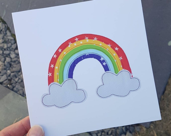 """Rainbow Greetings Card with Kraft Envelope - 6"""" square - BIRTHDAY / ANY OCCASION"""