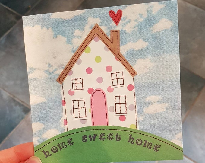 Home Sweet Home card • New home / Moving House • Printed from original artwork • 6 inch square with brown kraft envelope