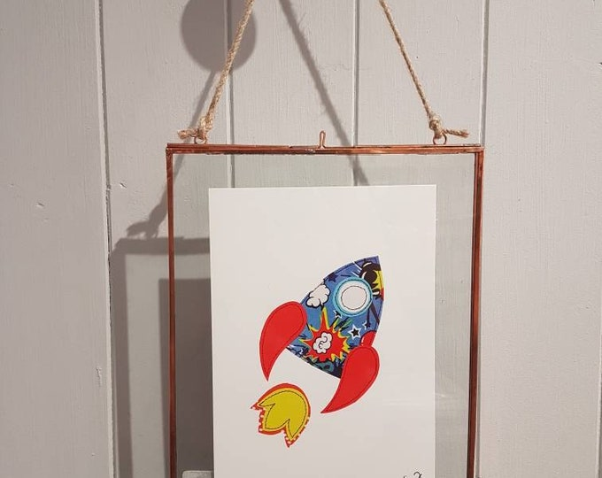 Rocket - A5 print taken from original stitched textile artwork - 300gsm