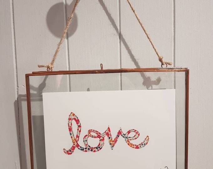 LOVE - A5 print taken from original stitched textile art - 300gsm