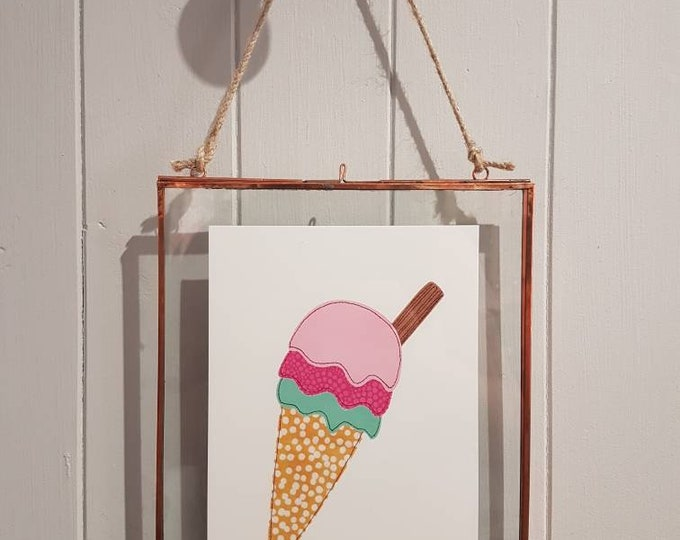 Ice Cream - A5 print taken from original stitched textile artwork - 300gsm