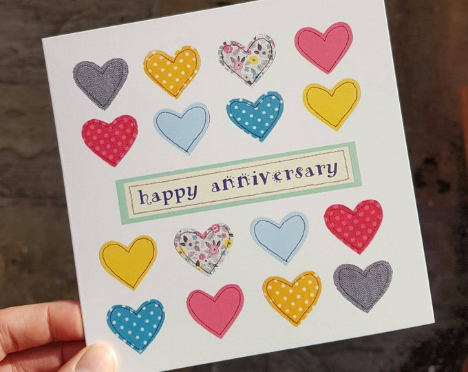 Heart Anniversary Card / Blank Card  • Printed from Original Artwork • 6 inch square with brown kraft envelope • 300gsm