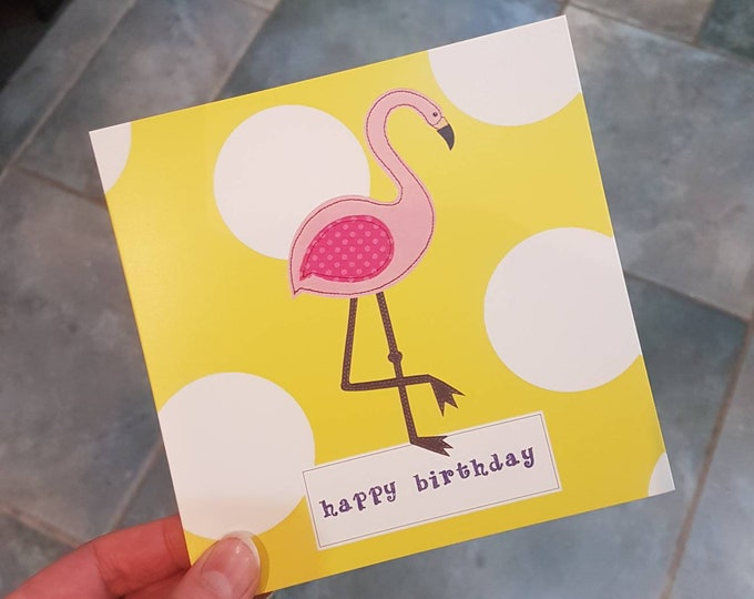 Yellow Flamingo 'Happy Birthday' Greetings Card • Printed from Original stitched art • 6 inch square with brown kraft envelope •