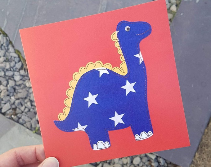 "Blue Dinosaur on Red Card with Kraft Envelope - 6"" square - BIRTHDAY / ANY OCCASION"