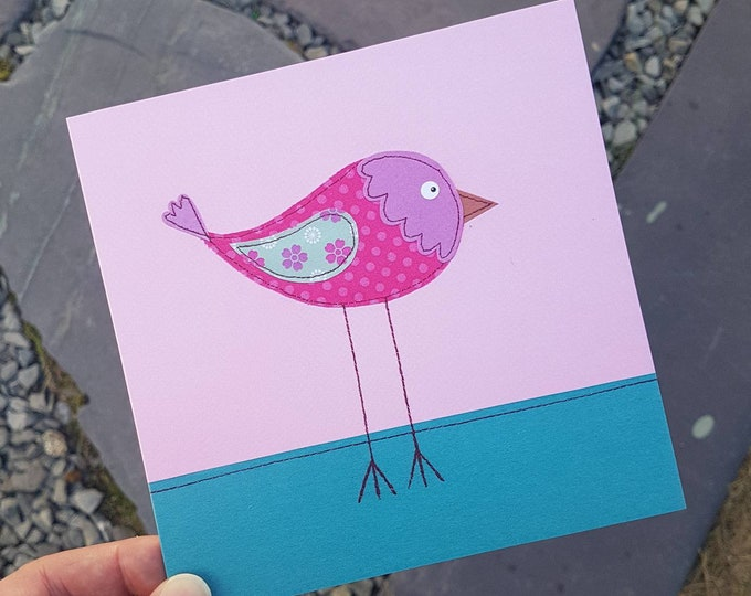 Little Bird Card • Blank Inside  • Printed from Original Stitched Artwork • 6 inch square with brown kraft envelope • 300gsm