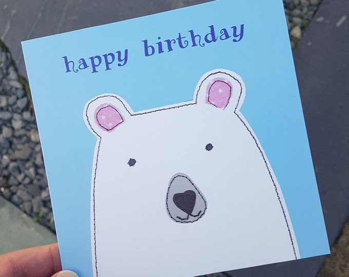 Polar Bear Birthday Card • Blank Inside • Printed from Original Artwork • 6 inch square with brown kraft envelope • 300gsm