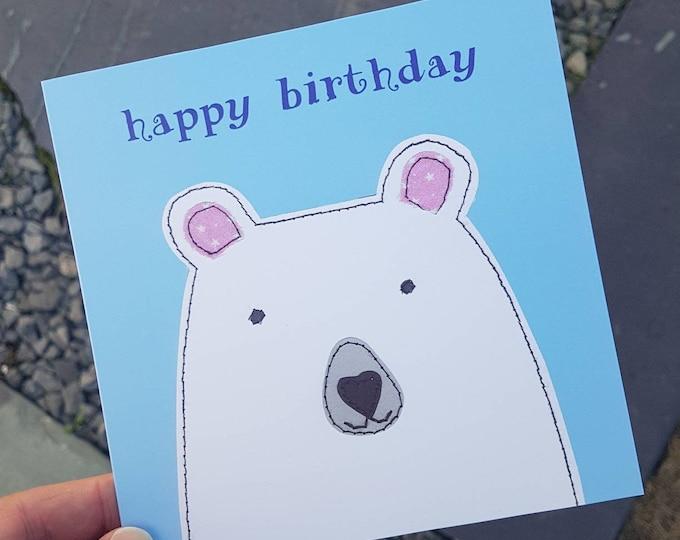 Polar Bear Birthday Card • Blank Inside • Printed from Original Artwork • 6 inch square with brown kraft envelope • 300gsm