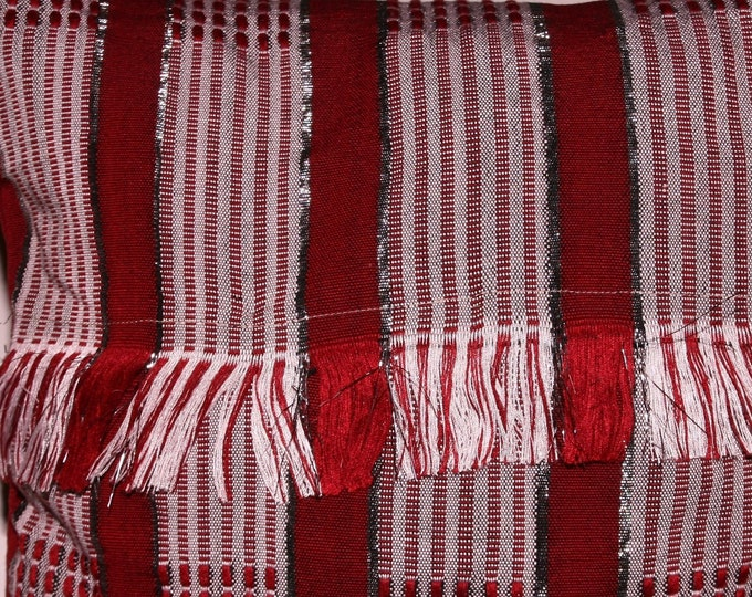 Cotton pillow woven red and silver fringe 35 x 37 cm, silver and red hand woven pillow 14 ""