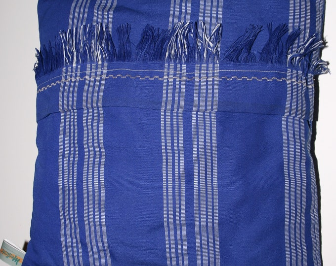 Blue and white woven cotton Cushion cover rectangle or square, blue and white hand woven pillow