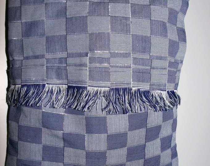 Blue and silver woven cloth rectangle Cushion cover