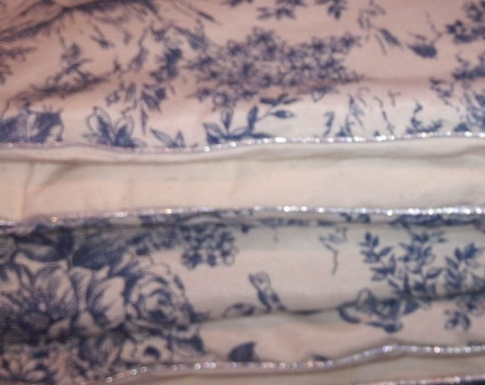Blanket, comforter, plaid raw cotton canvas and French toile de jouy