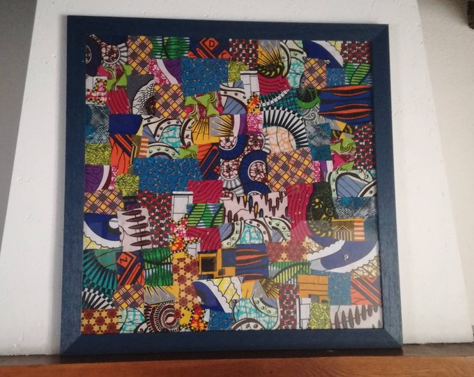 Decorative patchwork art wax canvas frame