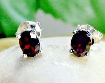 Garnet Stud Earrings, Garnet Earrings, Stud Earrings, Sterling Silver Earrings, Gemstone Earrings, Gemstone Jewelry, Jewelry