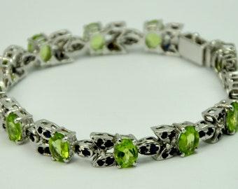 Peridot Bracelet, Blue Sapphire Bracelet, Green Bracelet, Sterling Silver Bracelet, Gemstone Bracelet, Gemstone Jewelry, Silver Jewelry