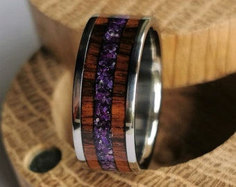 Unique handmade titanium and Santos Rosewood ring with Amethyst and Purple Jade inlay.