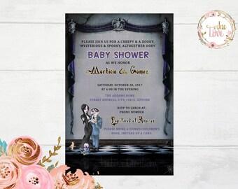 Addams Family, Halloween, Baby Shower Invitation
