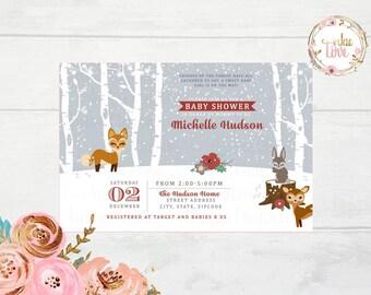 Winter Woodland, Forest Baby Shower Invitation
