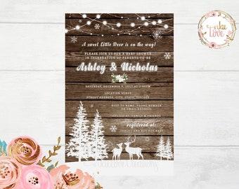 Rustic Winter Woodland, Baby Deer Baby Shower Invitation