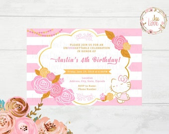 Pink and Gold Hello Kitty Invitation