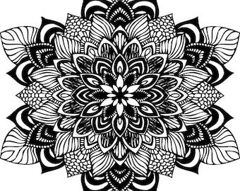 Mandala SVG file for cricut design space, zentangle, flower, intricate design
