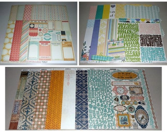 Vintage & Retro Scrapbook Kit Lot - Bo Bunny, Webster's Pages, My Mind's Eye - Paper, Stickers, Die-Cuts and More