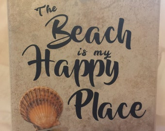 Beach is my happy place ceramic tile