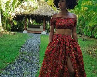94299967b87 Ankara Clothing/ Ankara Crop Top/ Ankara Maxi Skirt/Ankara High Skirt/  Ankara Smoked Top/ African Print