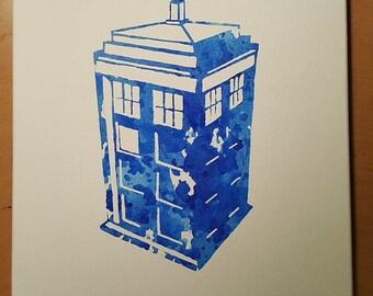 Doctor Who - Tardis Watercolor Canvas