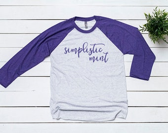 Next Level 6051 Purple Baseball Tee Mockup T Shirt Mock Up Flat Lay Blank